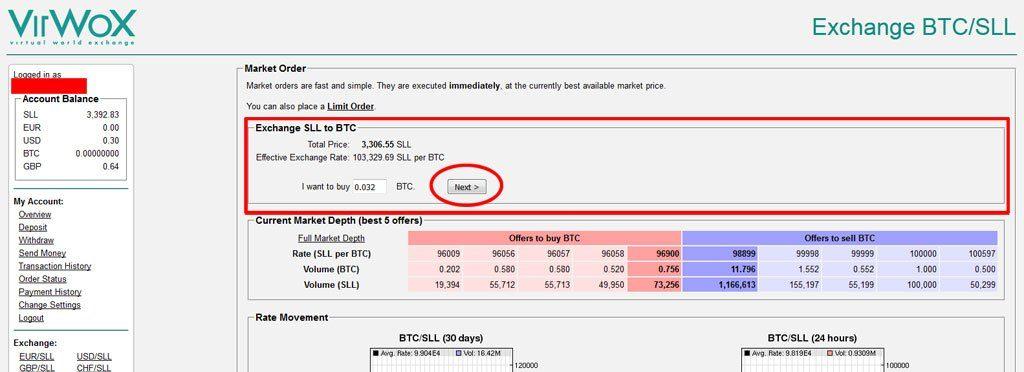 SLL omzetten naar Bitcoin