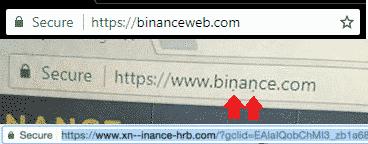 Binance phishing voorbeelden